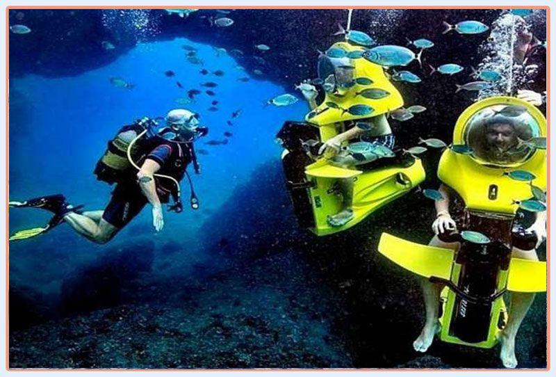 اسکوتر زیردریایی کیش از تفریحات آبی کیش